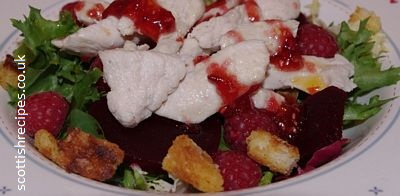 Hot Chicken Raspberry Salad Recipe