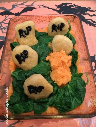 Tombstone Vegetarian Crispy Nuggets in a Halloween Graveyard